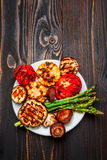 Grilled vegetables on wooden table Royalty Free Stock Image