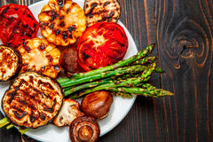 Grilled vegetables on wooden table Royalty Free Stock Photography
