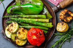 Grilled vegetables zucchini, asparagus, bell pepper, sausages on grill pan Royalty Free Stock Photo