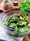 Grilled vegetables - zucchini, eggplant, green beans, onion, mushrooms, garlic and coriander, olive oil, wine vinegar and light so Royalty Free Stock Image