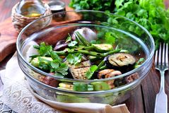 Grilled vegetables - zucchini, eggplant, green beans, onion, mushrooms, garlic and coriander, olive oil, wine vinegar and light so Royalty Free Stock Photography