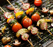 Grilled veggie skewers with cherry tomatoes, radishes, peppers and onions with fresh dill on a grill pan Royalty Free Stock Images