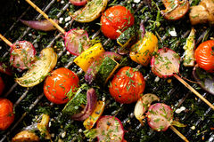 Grilled veggie skewers with cherry tomatoes, radishes, peppers and onions with fresh dill on a grill pan. Delicious and healthy vegan skewers Stock Image