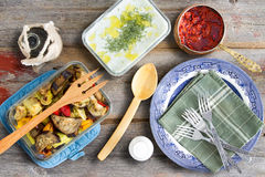 Grilled veggies, tzatziki, cacik and pepper paste Royalty Free Stock Photography