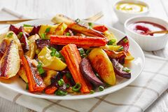 Grilled veggies on a white plate, top view