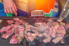 Grilled wagyu beef on hot coal with smoke & x28;Japanese Food& x29;. Grilled wagyu beef on hot coal with smoke. & x28;Japanese Food& x29 Royalty Free Stock Images