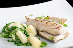 Grilled white fish fillets with potato Royalty Free Stock Image