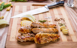 Grilled white meat chicken breast, chicken strips Royalty Free Stock Photography