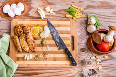 Grilled white meat chicken breast, chicken strips Royalty Free Stock Images