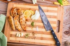 Grilled white meat chicken breast, chicken strips Stock Photos