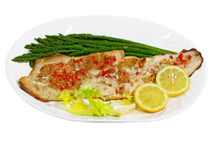 Grilled Whitefish asparagus. Grilled Whitefish white fish with asparagus Stock Images