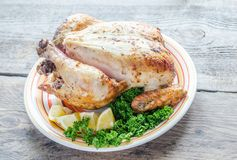 Grilled whole chicken Royalty Free Stock Images