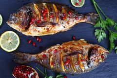 Grilled whole fish on slate tray stock images