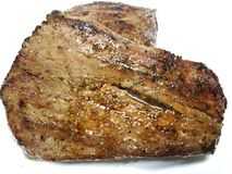 Grilled whole flank steak on a white background stock photography