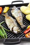 Grilled whole rainbow trout with vegetables Stock Photo