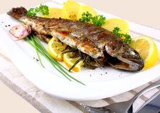 Grilled whole trout with potato, lemon and garlic Royalty Free Stock Photo