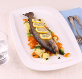 Grilled whole trout with vegetables and cutlery Stock Images