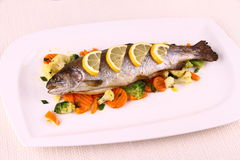 Grilled whole trout with vegetables and lemon Stock Image