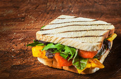 Grilled wholewheat cheese and salad sandwich Royalty Free Stock Photos