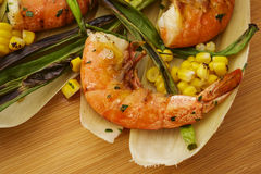 Grilled Wild Shrimp & Corn Stock Images
