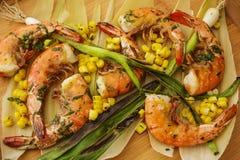 Grilled Wild Shrimp & Corn Royalty Free Stock Photos