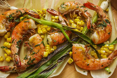 Grilled Wild Shrimp & Corn Stock Image