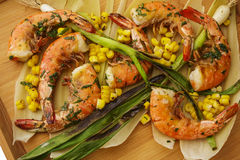 Grilled Wild Shrimp & Corn Royalty Free Stock Photography