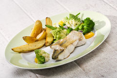 Grilled Zander dish with various vegetables stock photography