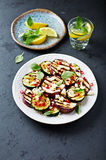 Grilled Zucchini and Aubergine with Feta, Pomegranate Seeds and Toasted Cashews Royalty Free Stock Image