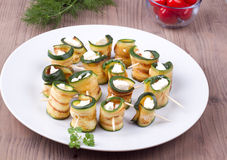 Grilled zucchini with feta cheese Stock Images