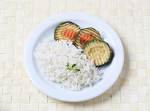 Grilled zucchini and rice Stock Photos
