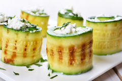Grilled zucchini rolls Royalty Free Stock Photography