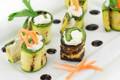 Grilled zucchini rolls with cheese Stock Photos
