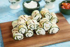 Grilled zucchini rolls. Filled with fresh cottage cheese Royalty Free Stock Image