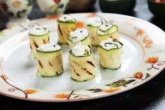 Grilled zucchini rolls filled with cheese Royalty Free Stock Images