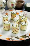 Grilled zucchini rolls Stock Images