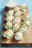 Grilled zucchini rolls Stock Photos
