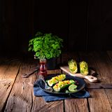 Grilled zucchini stuffed with sheep`s cheese and paprika. Stock Photography