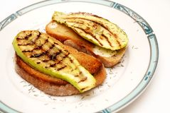 Grilled zucchini with toast bread Royalty Free Stock Image