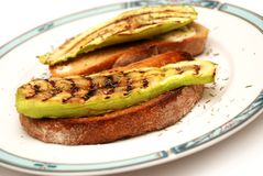 Grilled zucchini with toast bread Stock Image