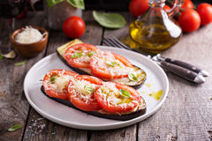 Grilled zucchini with tomatoes and cheese Royalty Free Stock Photography