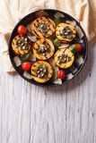 Grilled zucchini and tomatoes with pesto. vertical top view Royalty Free Stock Photography