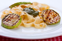 Grilled zuccini round with noodles Royalty Free Stock Photo