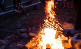 Grillen des Fleisches auf einem Feuer Lizenzfreies Stockbild