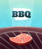 Grillen Sie BBQ-Parteieinladungskarte, Illustrationsplakathintergrund in der Karikaturart Lizenzfreies Stockbild