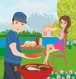 Grillendes Fleisch der Paare im Freien Stockfotos