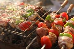 Griller le poulet sur le gril de barbecue Image libre de droits