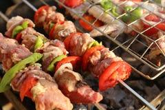Griller le poulet sur le gril de barbecue Images libres de droits