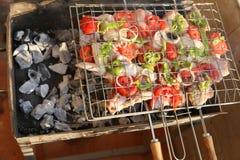 Griller le poulet sur le gril de barbecue Photos stock