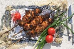 Griller le shashlik de viande sur un plateau avec l'aluminium photos stock